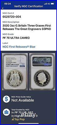 Royal Mint Three Graces 2oz Silver Proof NGC PF70 With Box & COA