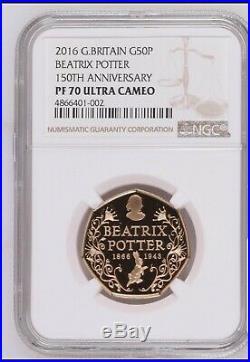 Royal mint Gold Proof NGC Graded PF70 Beatrix Potter Anniversary 50p