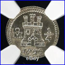 SPAIN Mexico quarther Real 1/4 R SilVER COIN 1796 NGC mint quality