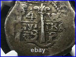 Scarcesilver Cob 4 Reales Carlos Ii. 1689. Potosi Mint. Vr Ngc F15