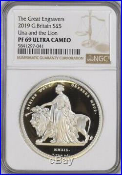 Silver Una and the Lion 2019, NGC Graded PF69 UCAM. Royal Mint Box & COA