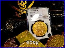 Spain 1701 8 Escudos Ngc 62 Only 2-all Grades Gold Doubloon Seville Mint Coin