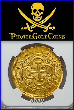 Spain 1718 Only 1 Known 8 Escudos Ngc 61 Mint State Gold Doubloon Coin Cob