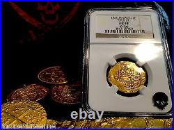 Spain 2 Escudos Dated 1590! Seville Mint Ngc 58 Gold Doubloon Cob Coin Jewelry